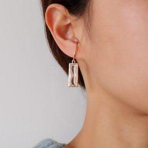 Hook On/Clip On Earrings - Clear Rectangle